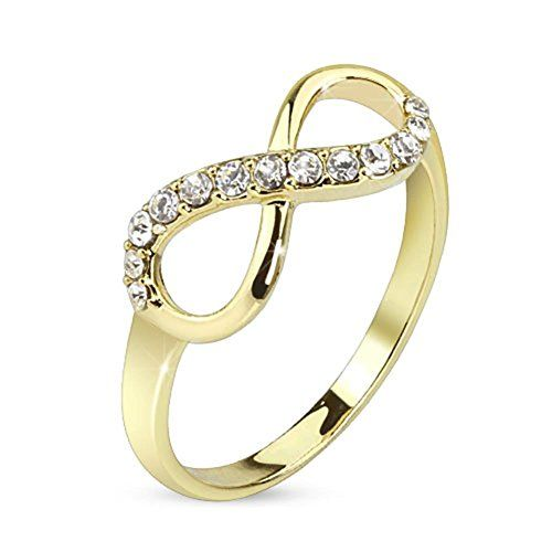 Paula & Fritz anillo de acero inoxidable bañado en oro de 14 K oro infinito Circonita Brillante Anillo Pulido tamaños disponibles 47 (15) - 60 (19)