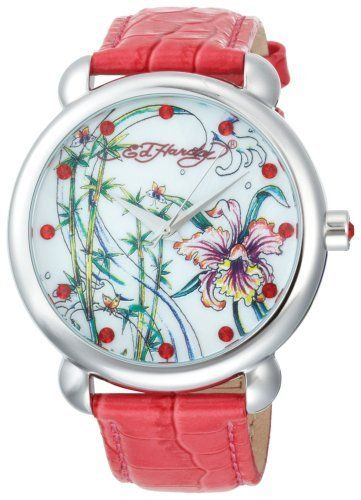 Ed Hardy Women's GN-PK Garden Pink Watch Ed Hardy. $58.99. Individually serial-numbered. Precise Japanese-quartz movement with three hand display; durable hardened mineral crystal face. Genuine Don Ed Hardy tattoo artwork. Water resistant up to 165 feet (50 M). Twelve hour format