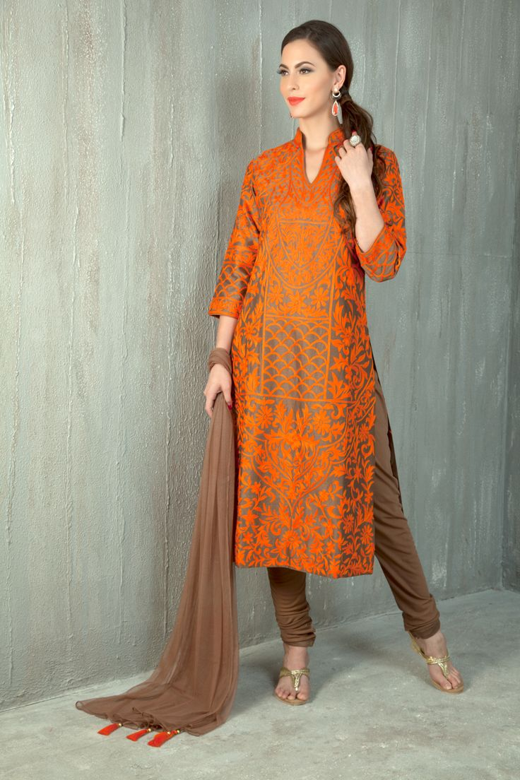 Cotton silk churidar kurta embellished with resham work