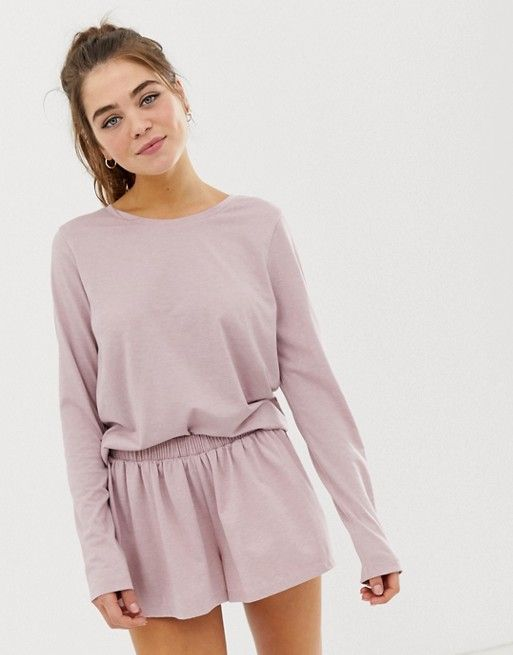 Find the best selection of ASOS DESIGN mix & match marl long sleeve pyjama jersey t-shirt. Shop today with free delivery and returns (Ts&Cs apply) with ASOS! Lazy Day Outfits, Cute Comfy Outfits, Lounge Outfit, Lounge Wear, Asos, Lingerie Sleepwear, Nightwear, Pijamas Women, Loungewear Outfits