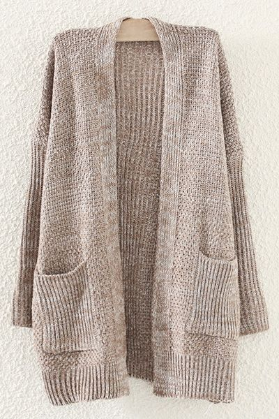 Pockets Collarless Long Sleeve Cardigan