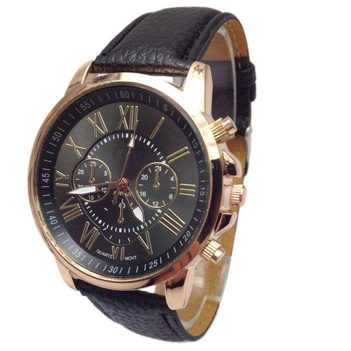2016 Fashion Brand Geneva Watches Women Men Casual Roman Numeral Watch For Men Women PU Leather Quartz Wrist Watch relogio Clock