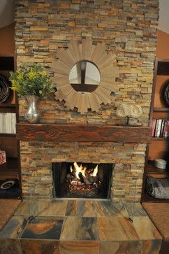 Stone Fireplace - Living Room traditional living room