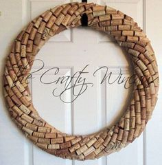 "Extra Large 25"" Handmade Wine Cork Wreath, Without Grapes/No Grapes, Recycled Wine Cork Door Wreath - pinned by pin4etsy.com"