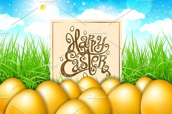 happy easter. gold egg. green grass  by Rommeo79 on @creativemarket