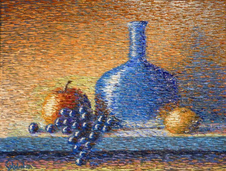 impressionist still life bottle by Chris Quinlan Art