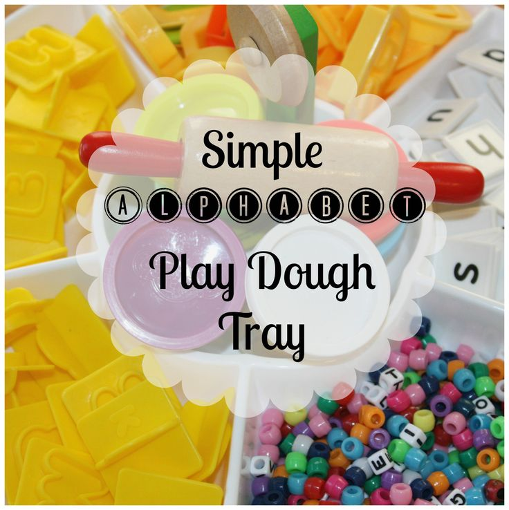 We made this super simple alphabet play dough activity tray for exploring letters. Great for practicing the alphabet, fine motor skills, and creative play!