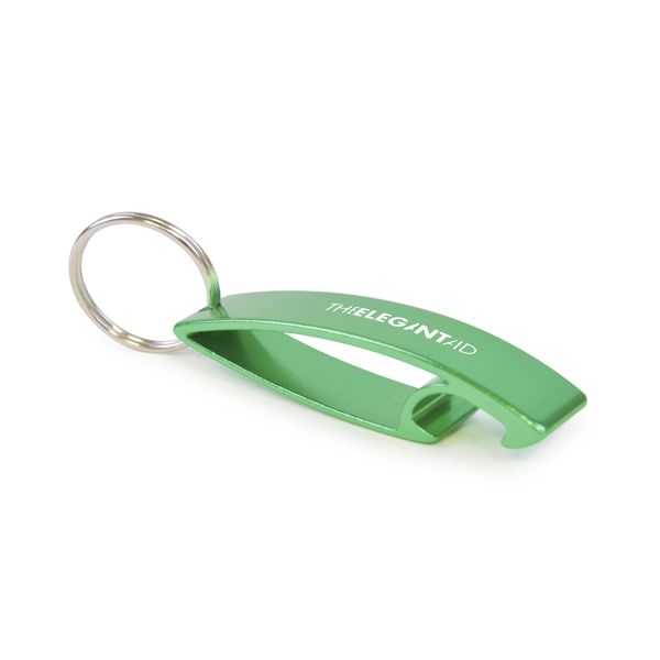 Bottle Opener Metal Bottle Opener Keyring. Durable metal bottle opener includes a silver split ring attachment. The shape is designed to provide a good branding area whilst also ensuring bottle lids are removed with ease.
