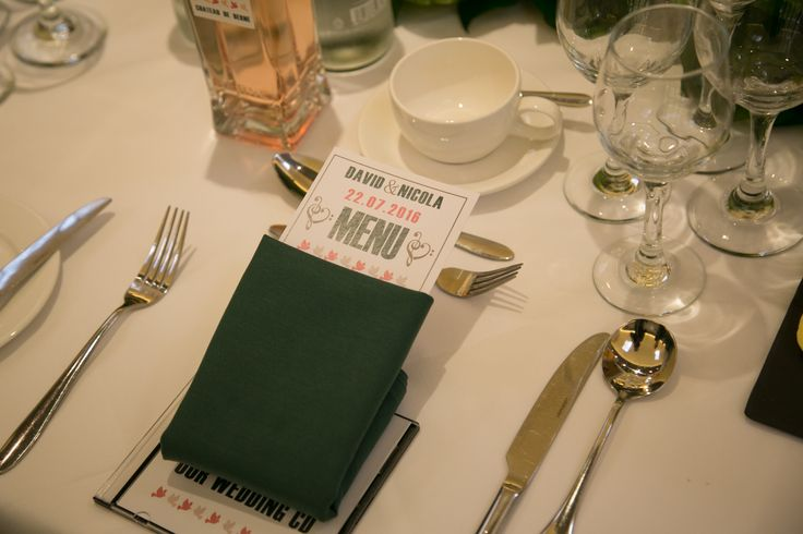 An emerald and coral menu with strong typefaces created by #novaweddingplanning