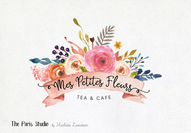 Watercolor Floral Banner Logo Photoshop Logo Download - photography branding, boutique logo, restaurant logo, creative business branding or small business logo.