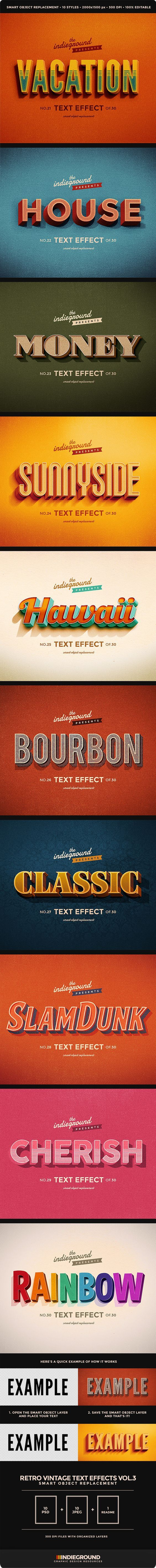 Retro Vintage Text Effects Vol. 3 - Text Effects Actions - these are all beautiful: