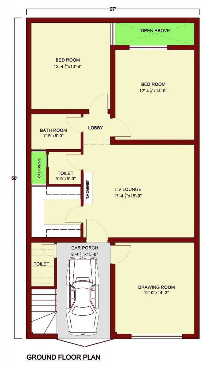 Ground Floor Plan 2 Bedrooms 1 Bathroom 1 Toilet Kitchen Drawing