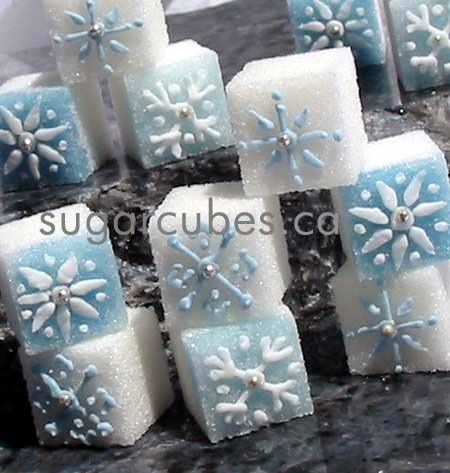 Decorated sugar cubes with delicate blue and silver toned ...