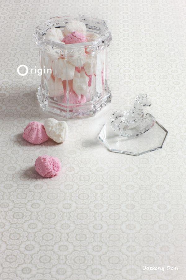 Koronkowy wzór w odcieniach bieli i jasnej szarości - Origin