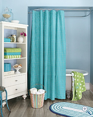 Love the blue, green and white for a kid bathroom.