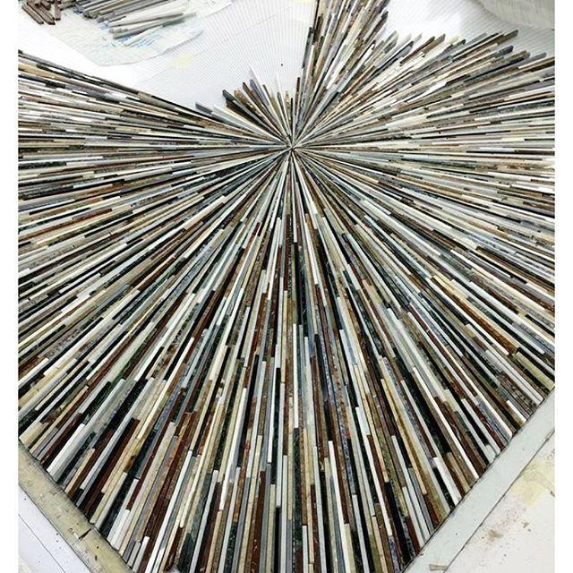 We hope you're having a radiant Monday This custom Tatami Radiance stone mosaic has stolen the show on our production floor (and in our mosaic-loving hearts). #NewRavenna #backsplash #arttile #madeintheusa #handmade #custom #tileaddiction