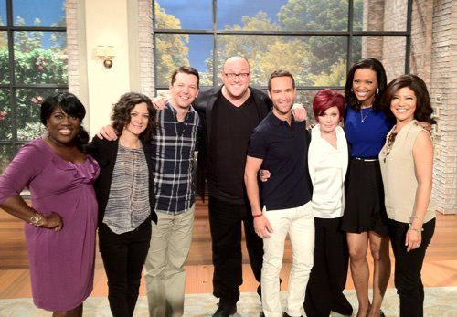 The Three Stooges Sean Hayes, Will Sasso & Chris Diamantopoulos with The Talk hosts