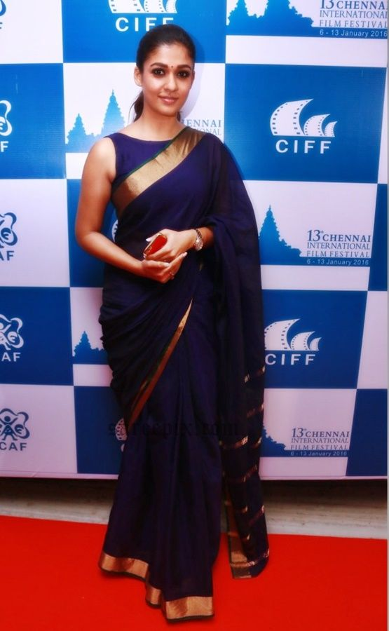 South Indian heroine Nayanatara in purple saree at CIFF closing ceremony in Chennai.