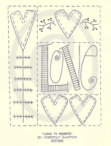 Love 'N Hearts Love And Hearts [SP386] - $1.99 : Chestnut Junction Primitive Patterns and E-patterns, Primitive Doll, Craft and Stitchery Patterns and Primitive E-Patterns and Primitive Digital Embroidery