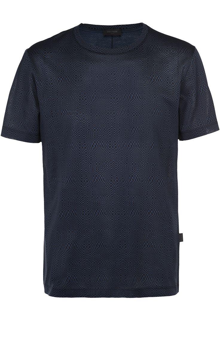 Мужская синяя хлопковая футболка с принтом Pal Zileri, сезон SS 2017, арт. 94310/3M0/V401 купить в ЦУМ | Фото №1