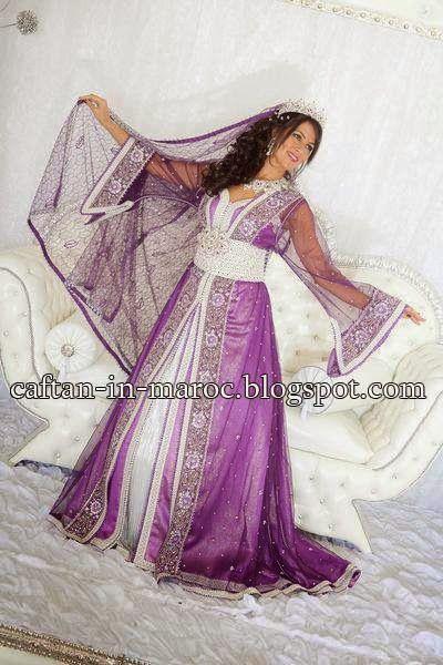 nouveau modèle très chic du caftan mariage mauve 2015 tissu sari indien et satin duchesse blanc pour toutes les future mariées cherchant le prestige et raffinement à un prix convenable