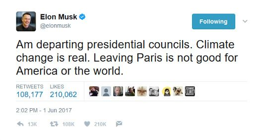 #Media #Oligarchs #Banks vs #union #occupy #BLM #SDF #Humanity  [VIDEO] Elon Musk quits Trump advisory councils, saying, 'Climate change is real'   http://www.latimes.com/business/la-fi-elon-musk-climate-change-20170601-story.html   Elon Musk said he was resigning from two White House advisory councils after President Trump announced Thursday that he is withdrawing the United States from the Paris climate accord.  Other pillars of corporate America — including Google's chief executive and…