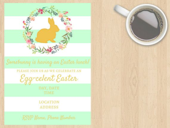 Digital Download Easter Invitation Lunch by DesignsByMoniqueAU