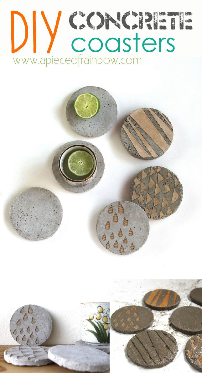 Make Unique Industrial style Concrete Coasters!  Easy and fun DIY - via A Piece Of Rainbow