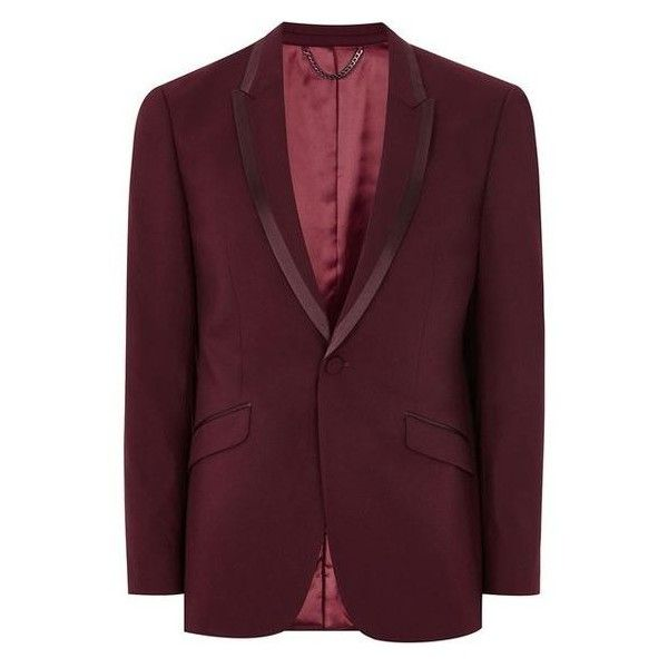 TOPMAN Burgundy Skinny Tux Jacket ❤ liked on Polyvore featuring men's fashion, men's clothing, men's outerwear, men's jackets, mens single breasted jacket, mens jackets, mens tuxedo jacket and mens dinner jacket