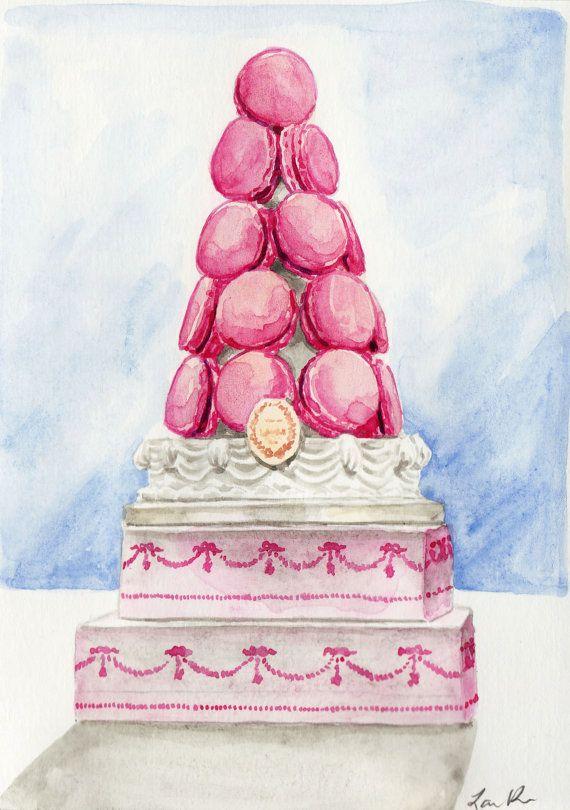 Laduree Macaron Tower in Pink - ORIGINAL Watercolor 5 x 7 ...