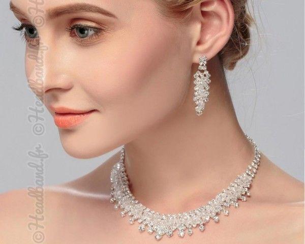 Parure soirée perles transparentes
