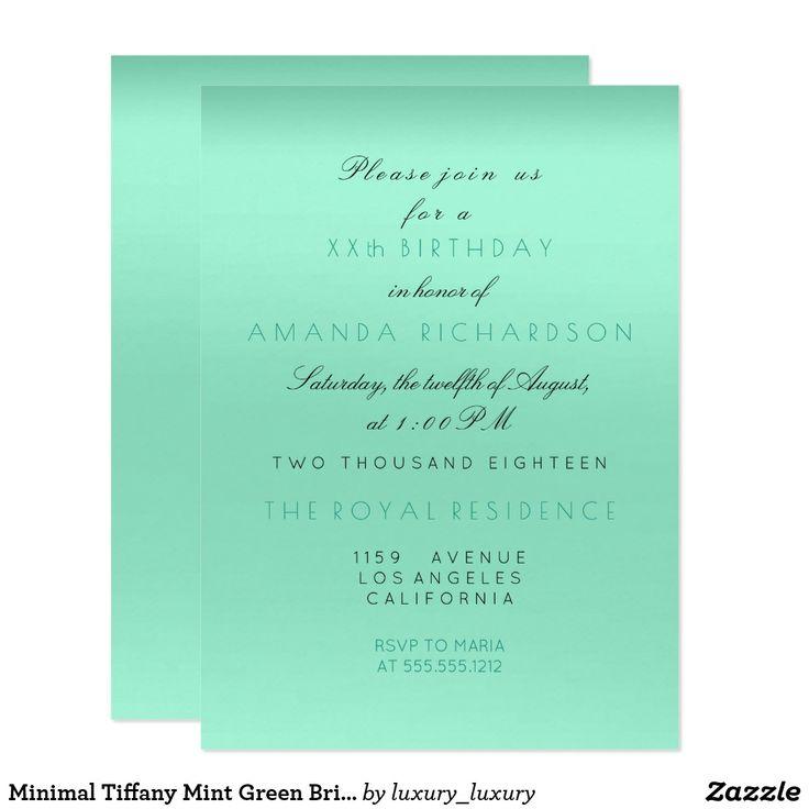 Minimal Tiffany Mint Green Bridal Shower Birthday Card