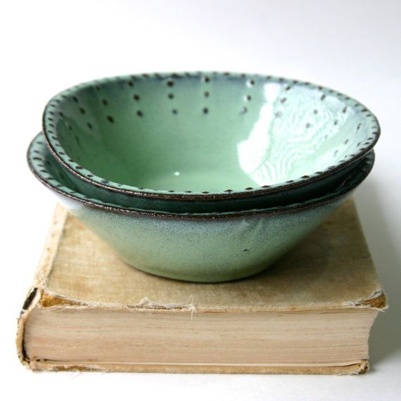 Stoneware Bowl  Set of 2  Aqua Mist Creamy White by BackBayPottery, $56.00