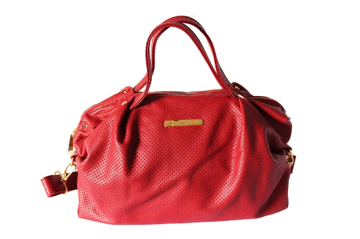 Red perforated italian leather bag. By: Paulina Botero