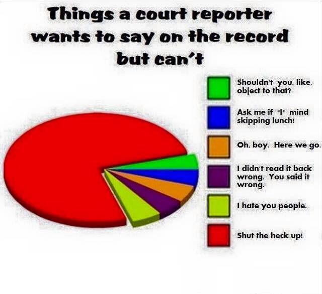 Court reporting humor.