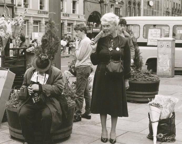 Around 1979 or 1980 on O'Connell Street. Arthur Fields and Mary Dunne
