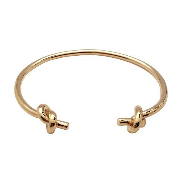 Bracelet jonc ajustable avec noeuds, en plaqué or 750/°°°
