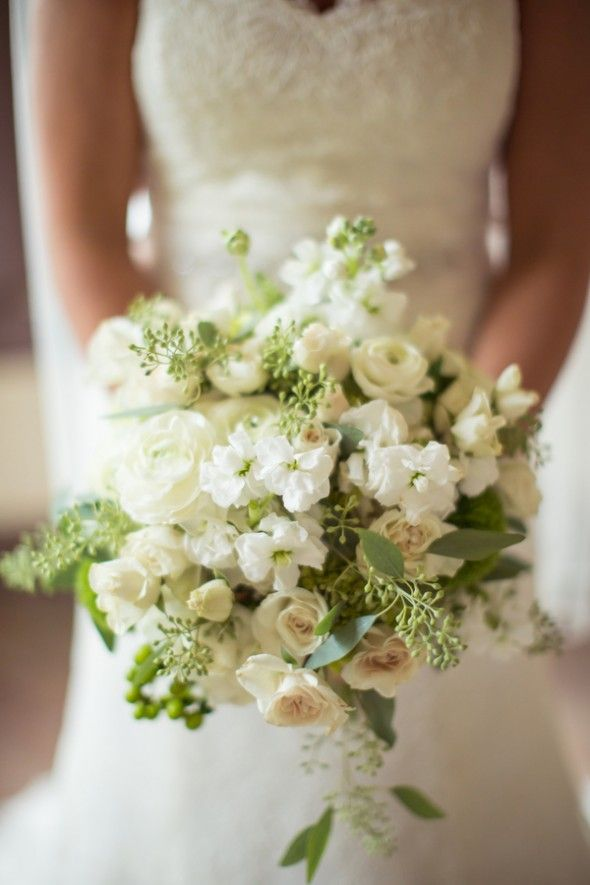 This is one my favorite bouquets that I've seen---just about perfect!  I love the small flowers, the spring of berry-looking things, the leaves---everything.