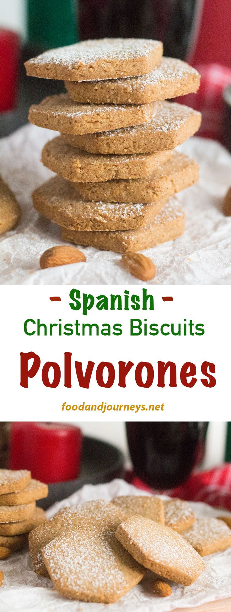 Spanish Recipes | Christmas dessert | Biscuits | Cookies. This traditional holiday treat is also commonly given as gifts! A hint of toasted almonds and cinnamon in every bite, Spanish Polvorones are quick and easy to make!  You might end up making them all year round!
