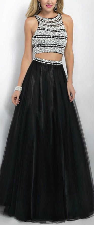 Prom Dress,Custom Prom Dress,Sexy Two Piece Black Prom Gowns,Beaded Pearls Long Prom Gowns,Prom Gowns,Dress To Prom