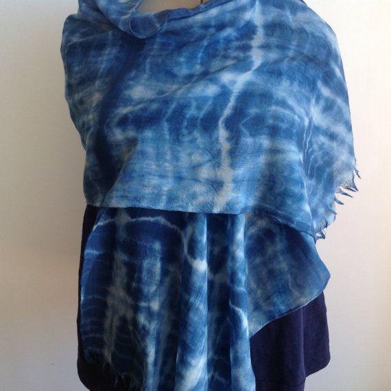 Indigo Hand Dyed Merino Wool Scarf 'Jet Trails'. by IndigoDazeArt