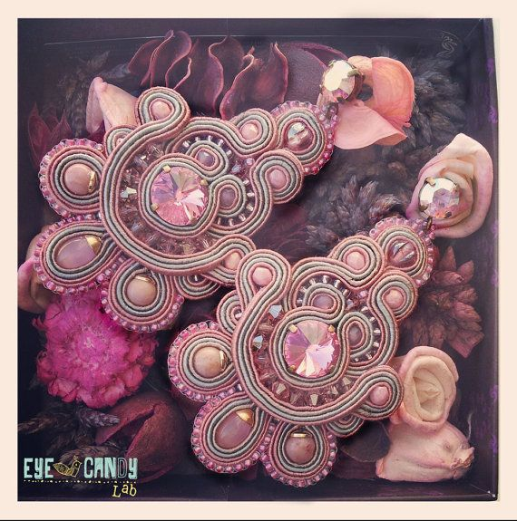 La Vie en Rose  Soutache Earrings by EyeCandyLab on Etsy, €70.00