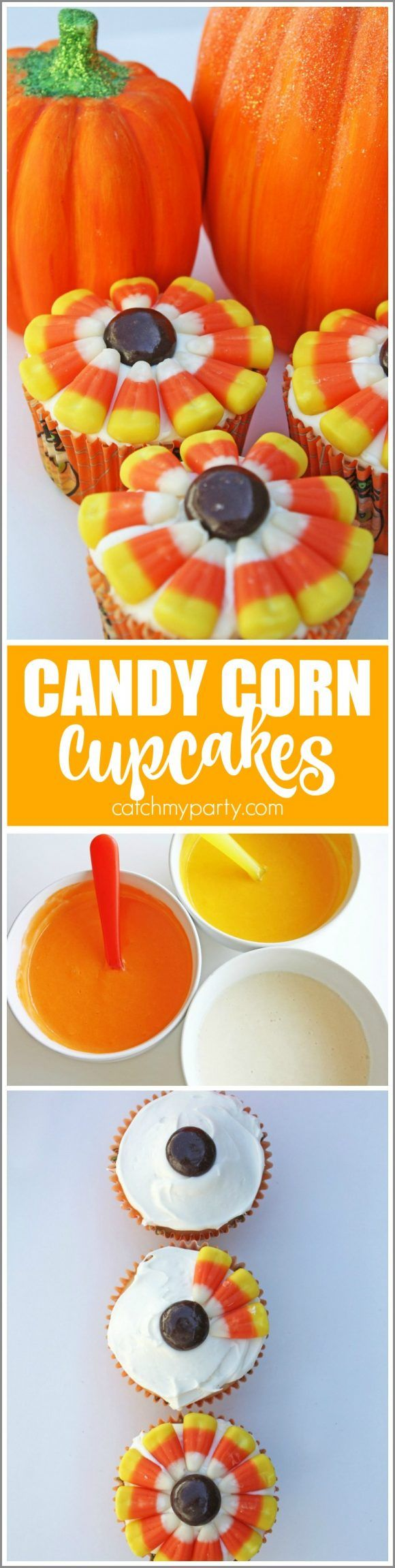 Fall Candy Corn Cupcakes perfect for Halloween parties and Thanksgiving! | Catch…