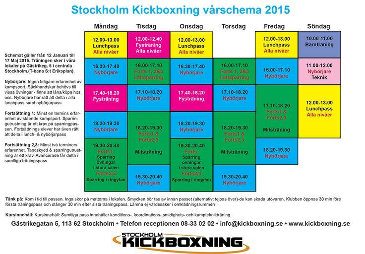 Schema över Kickboxning och Thaiboxning