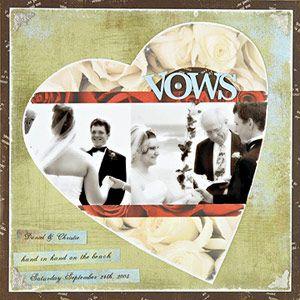 Scrapbook Wedding Photos Inside a Heart Shape  Design by Erin Roe