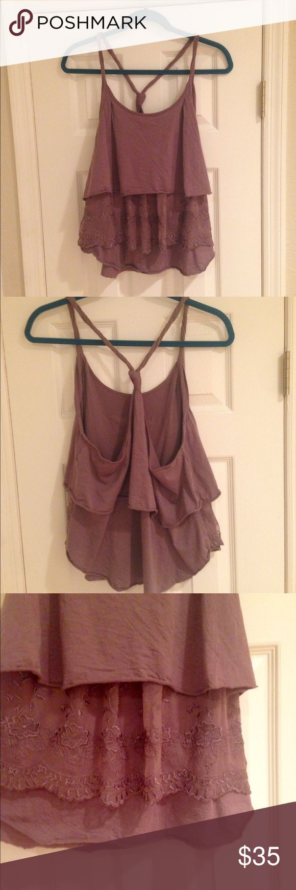 Free People brown top ❤️ Gorgeous Free People top! Gently worn only a few times and in great condition. Front has a detailed lacy layer; the back is pretty open... This top would look great with a lacy bandeau bralette and jeans! Free People Tops