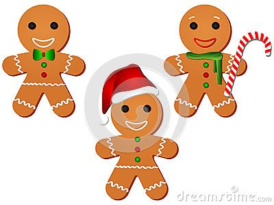 Cute Vector Illustration Cartoon Gingerbread Man, set of three.