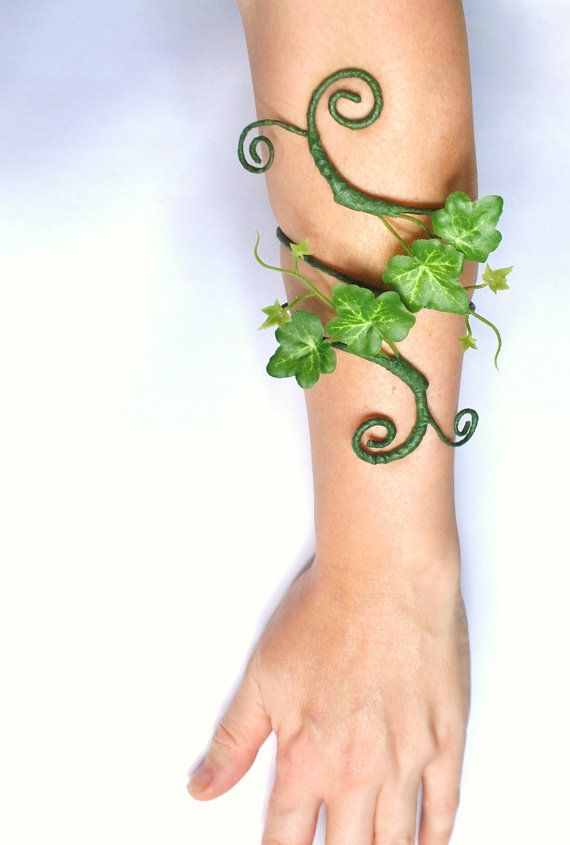 My latest design here I have made an arm cuff for poison ivy accessory, tree people fancy dress or mother nature costume arm cuff, whimsical
