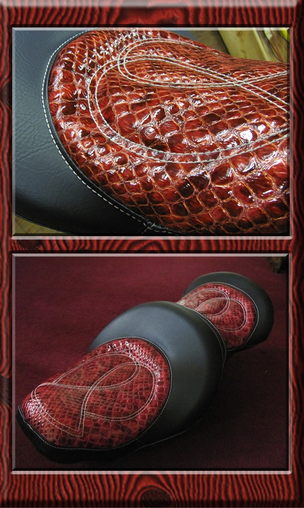 Art designer stitchwork & custom upholstery for Motorcycles, Golf carts, & Watercraft. Custom seats for Big Rigs. Heavy leather sewing & repairs for Farm/Ranch & Outdoor recreation.