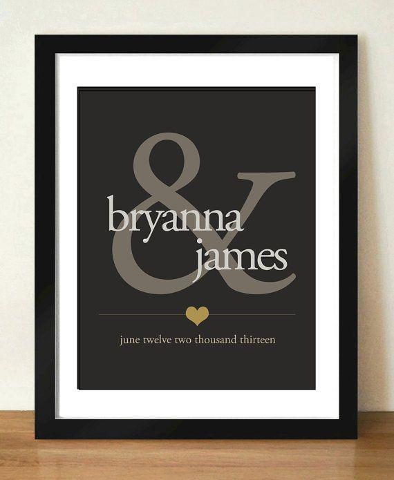 Digital Ampersand Personalized Wedding Gift Monogram Print Bridal Shower Hostess First Anniversary 8x10 11x14